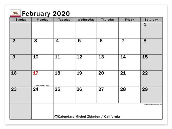 February 2020 Calendar, with the holidays of California. Free printable calendar with public holidays.