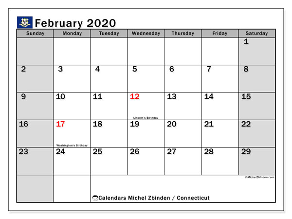"Printable ""Connecticut"" calendar with public holidays. Monthly February 2020 calendar and free printable planner."