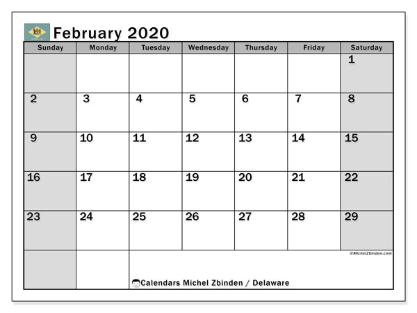 February 2020 Calendar, with the holidays of Delaware. Free printable calendar with public holidays.