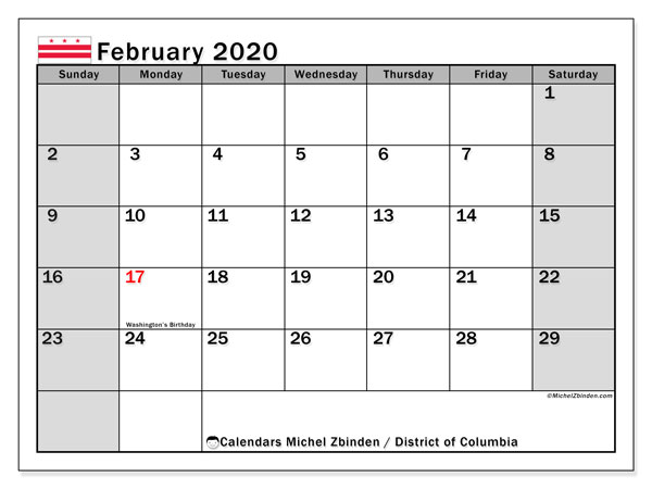 February 2020 Calendar, with the District of Columbia holidays. Holidays calendar to print free.