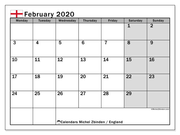 February 2020 Calendar, with the holidays of England. Free printable calendar with public holidays.