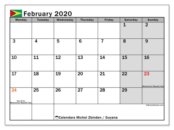 "Printable ""Guyana"" calendar with public holidays. Monthly February 2020 calendar and free printable timetable."