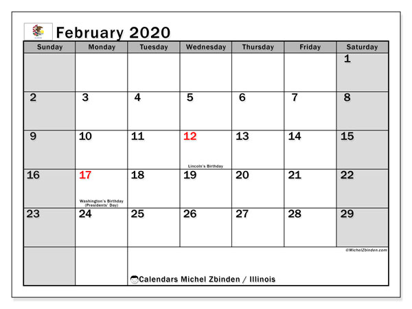 "Printable ""Illinois"" calendar with public holidays. Monthly February 2020 calendar and free printable timetable."