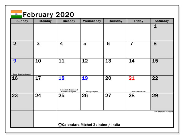 "Printable ""India"" calendar with public holidays. Monthly February 2020 calendar and free printable bullet journal."