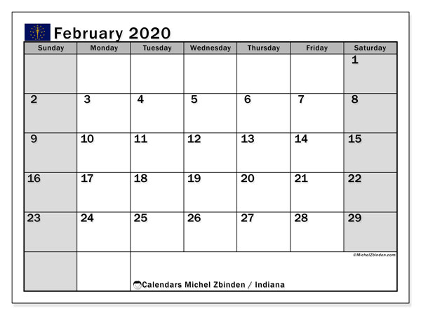 February 2020 Calendar, with the holidays of Indiana. Holidays calendar to print free.
