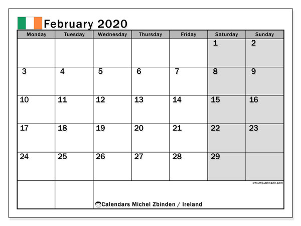 February 2020 Calendar, with the holidays of Ireland. Holidays calendar to print free.