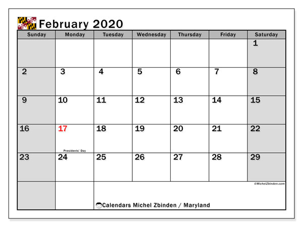 February 2020 Calendar, with the holidays of Maryland. Free printable calendar with public holidays.