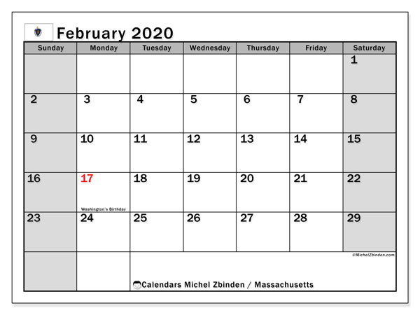 February 2020 Calendar, with the holidays of Massachusetts. Holidays calendar to print free.