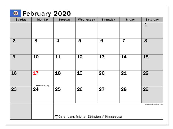 February 2020 Calendar, with the holidays of Minnesota. Holidays calendar to print free.
