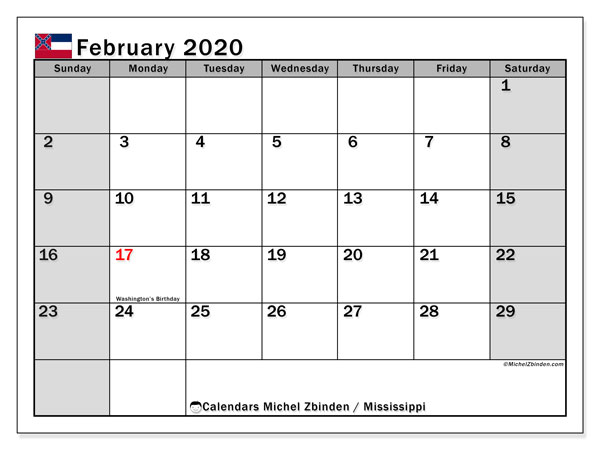 February 2020 Calendar, with the Mississippi holidays. Holidays calendar to print free.