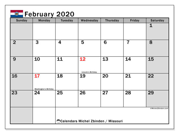 "Printable ""Missouri"" calendar with public holidays. Monthly February 2020 calendar and timetable to print free."