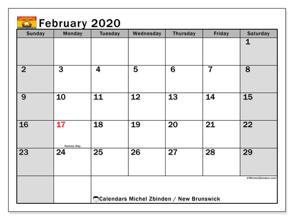 "Printable ""New Brunswick"" calendar with public holidays. Monthly February 2020 calendar and free printable timetable."