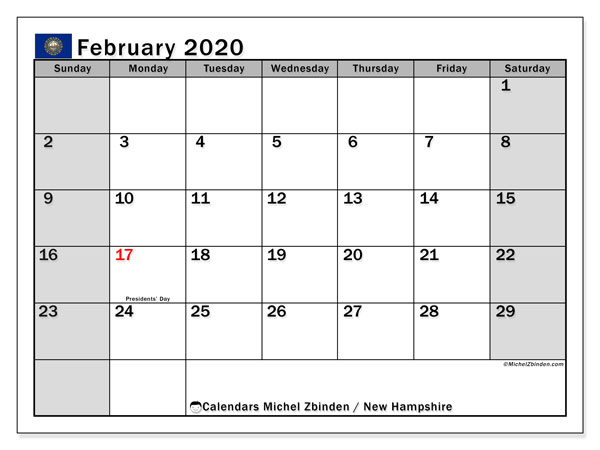"Printable ""New Hampshire"" calendar with public holidays. Monthly February 2020 calendar and free schedule to print."