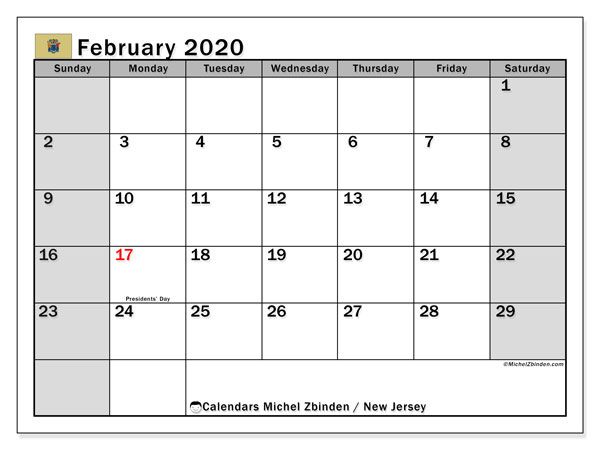 February 2020 Calendar, with the holidays of New Jersey. Free printable calendar with public holidays.