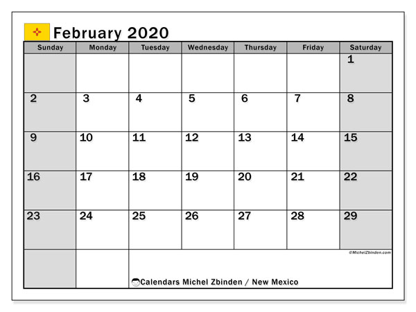 February 2020 Calendar, with the holidays of New Mexico. Free printable calendar with public holidays.