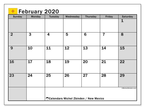 February 2020 Calendar, with the holidays of New Mexico. Holidays calendar to print free.