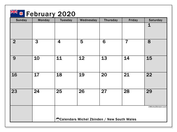 February 2020 Calendar, with the holidays of New South Wales. Holidays calendar to print free.
