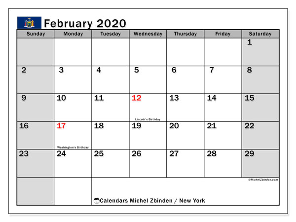 February 2020 Calendar, with the holidays of New York. Free printable calendar with public holidays.