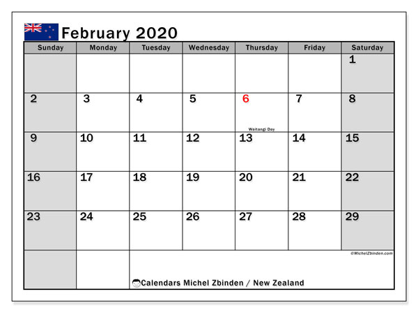 February 2020 Calendar, with the holidays of New Zealand. Holidays calendar to print free.