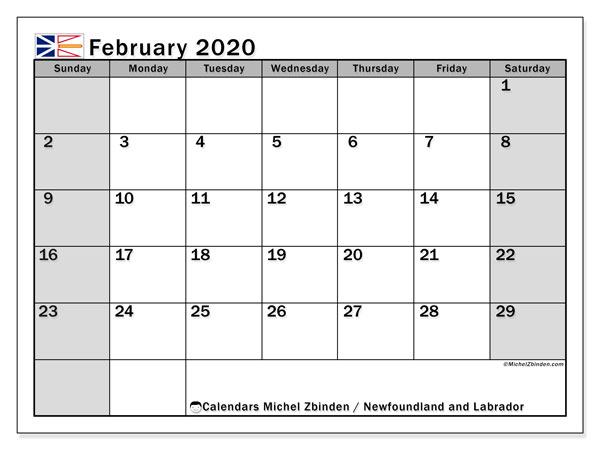 Calendar February 2020 - Newfoundland and Labrador. Public Holidays. Monthly Calendar and free printable planner.