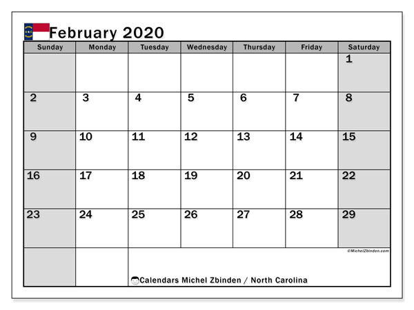 Calendar February 2020 - North Carolina. Public Holidays. Monthly Calendar and free printable bullet journal.