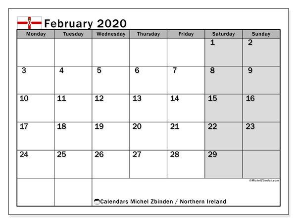 February 2020 Calendar, with the holidays of Northern Ireland. Free printable calendar with public holidays.