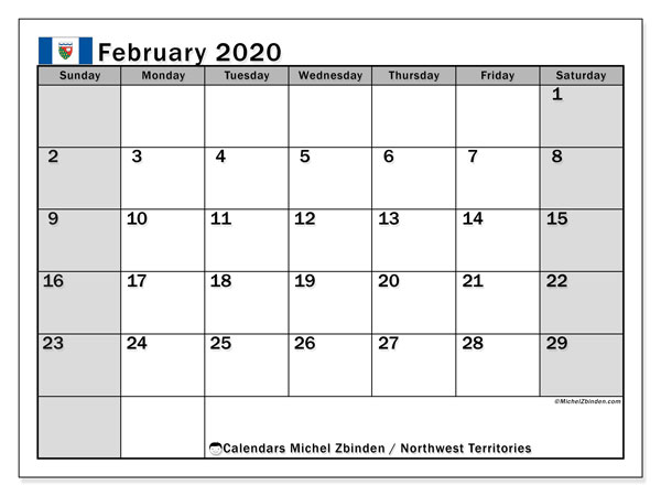 February 2020 Calendar, with the holidays of Northwest Territories. Holidays calendar to print free.
