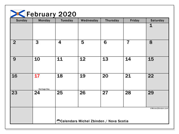 February 2020 Calendar, with the holidays of Nova Scotia. Free printable calendar with public holidays.