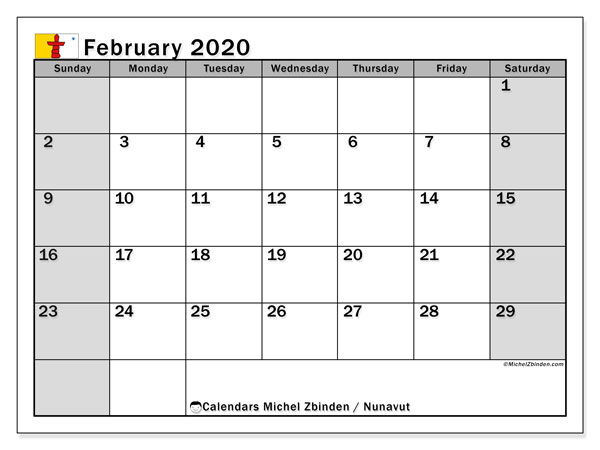 February 2020 Calendar, with the holidays of Nunavut. Holidays calendar to print free.