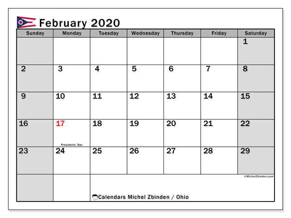 February 2020 Calendar, with the holidays of Ohio. Holidays calendar to print free.