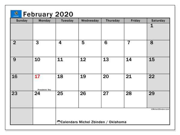 February 2020 Calendar, with the holidays of Oklahoma. Holidays calendar to print free.