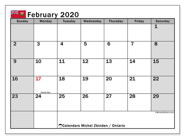 February 2020 Calendar, with the holidays of Ontario. Free printable calendar with public holidays.
