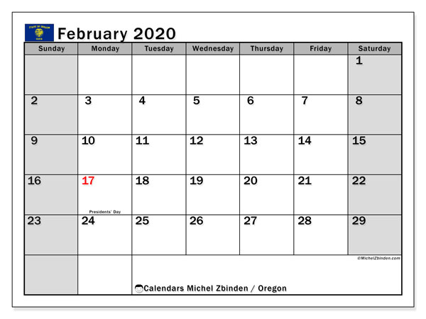 "Printable ""Oregon"" calendar with public holidays. Monthly February 2020 calendar and schedule to print free."