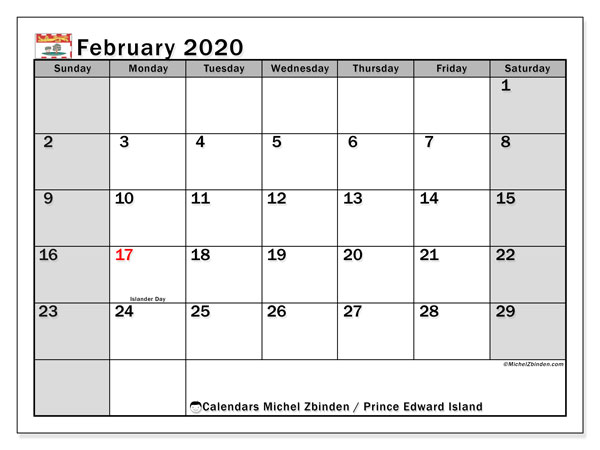 February 2020 Calendar, with the holidays of Prince Edward Island. Holidays calendar to print free.