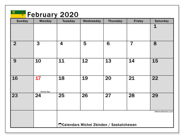 "Printable ""Saskatchewan"" calendar with public holidays. Monthly February 2020 calendar and planner to print free."