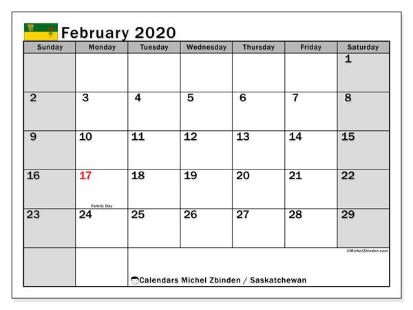 February 2020 Calendar, with the holidays of Saskatchewan. Free printable calendar with public holidays.