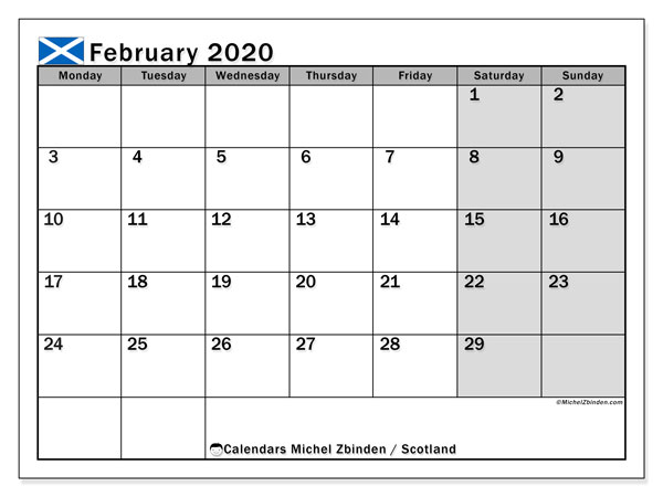 Calendar February 2020 - Scotland. Public Holidays. Monthly Calendar and free printable schedule.