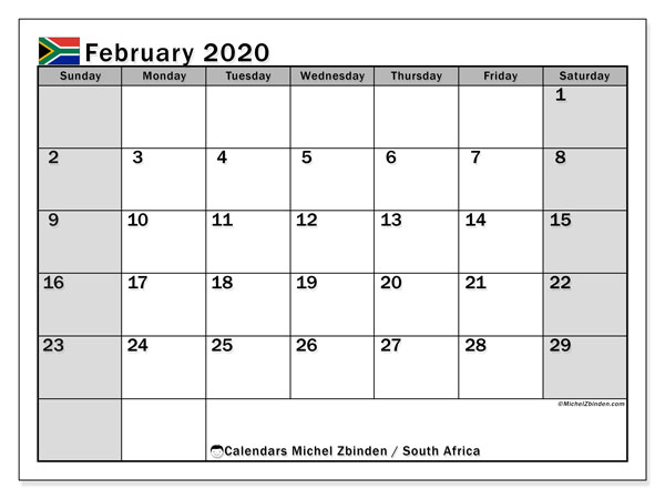 February 2020 Calendar, with the holidays of South Africa. Free printable calendar with public holidays.