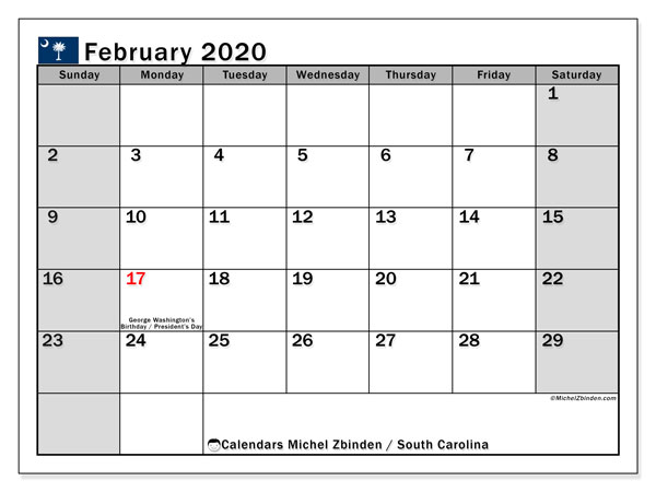 February 2020 Calendar, with the holidays of South Carolina. Holidays calendar to print free.
