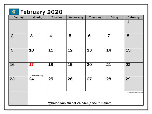 Calendar February 2020 - South Dakota. Public Holidays. Monthly Calendar and free agenda to print.