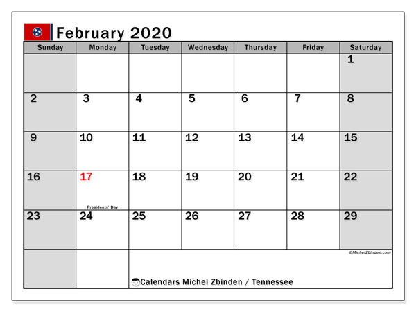 "Printable ""Tennessee"" calendar with public holidays. Monthly February 2020 calendar and bullet journal to print free."