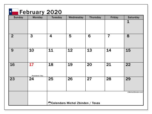 February 2020 Calendar, with the holidays of Texas. Free printable calendar with public holidays.
