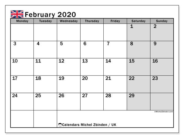 February 2020 Calendar, with the holidays of UK. Free printable calendar with public holidays.
