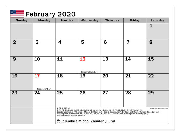 February 2020 Calendar, with the holidays of the USA. Free printable calendar with public holidays.
