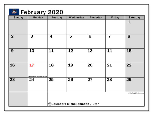 February 2020 Calendar, with the holidays of Utah. Holidays calendar to print free.