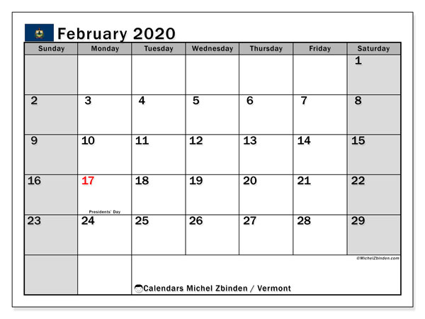 February 2020 Calendar, with the holidays of Vermont. Free printable calendar with public holidays.