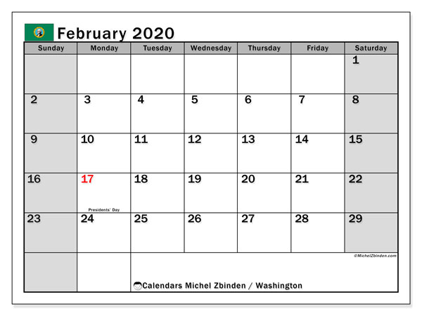 "Printable ""Washington"" calendar with public holidays. Monthly February 2020 calendar and free timetable to print."