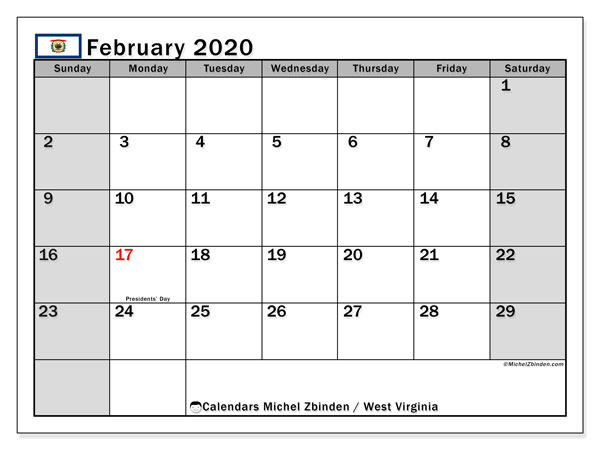 February 2020 Calendar, with the holidays of West Virginia. Holidays calendar to print free.
