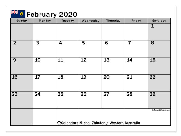 February 2020 Calendar, with the holidays of Western Australia. Holidays calendar to print free.