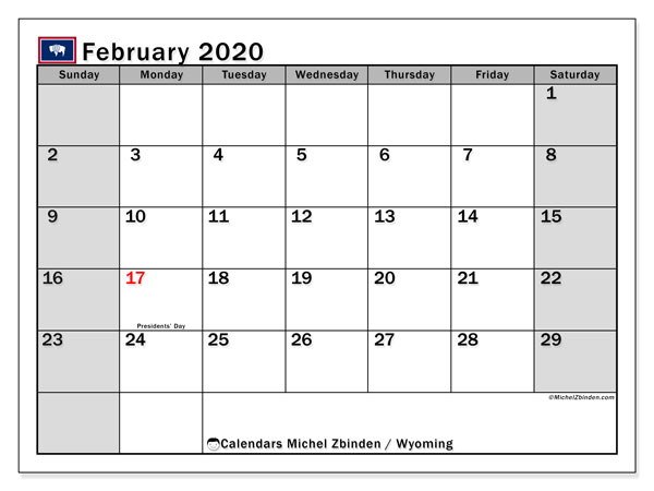 February 2020 Calendar, with the holidays of Wyoming. Free printable calendar with public holidays.